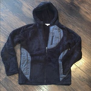 Lands End black Sherpa fleece hoodie size 14/16